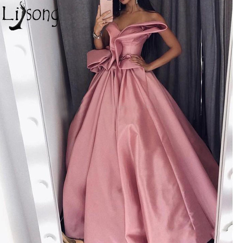 Fashion Long   Prom     Dresses   2018 Strapless Draped Ruffles Satin Formal   Dress   Arabic Evening Party Gowns Red Carpet   Dress   Custom