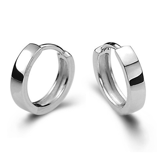 Small Silver Hoop Earrings Men Jewelry Creole Round Circle Huggies Earring Male Accessories Orni Cerchio Aros