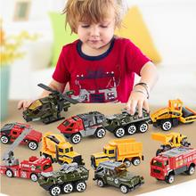 1:64 6 Pcs/Set Mini Alloy Cars Tractor Excavator Toy Construction Diecast Metal Alloy Model Toy Engineering Car For Baby Product 6pcs set mini alloy diecast construction vehicles model excavator bulldozer tractor dump roller engineering car kids classic toy