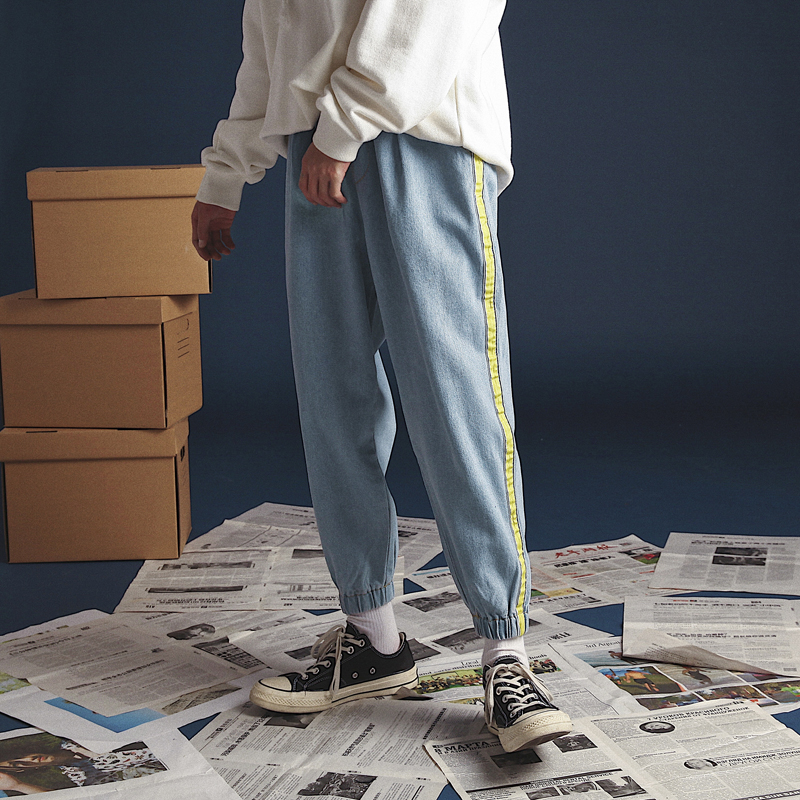 2018 Men's Hip-Hop Style Side Stripe Baggy Homme Jeans Bound Feet Casual Blue Pants Waist Elastic Loose Denim Trousers S-2XL