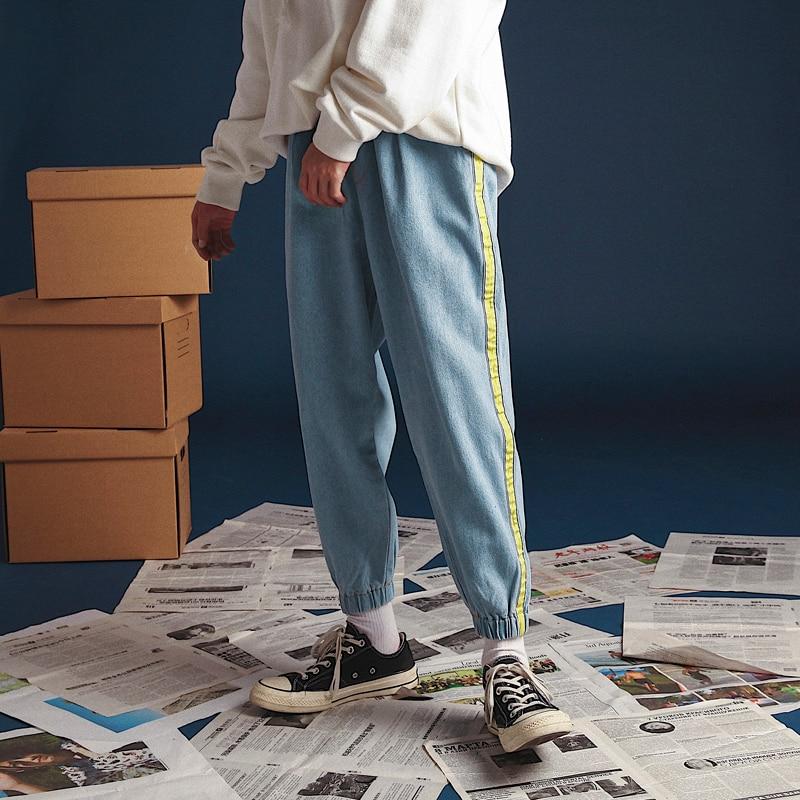 2018 Men's Hip-Hop Style Side Stripe Baggy Homme Jeans Bound Feet Casual Blue Pants Waist Elastic Loose Denim Trousers S-2XL