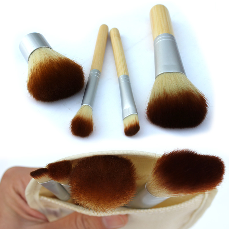 4pcs/set Professional Soft Cosmetic Make Up Brush Set Woman's Toiletry Kit Makeup Brushes Natural Bamboo Handle kabuki Brush free shipping durable 32pcs soft makeup brushes professional cosmetic make up brush set