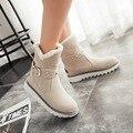 2016 da pele do falso quente impermeáveis botas de neve mulheres moda inverno senhoras botas curtas tamanho grande marrom preto bege cor dropshipping