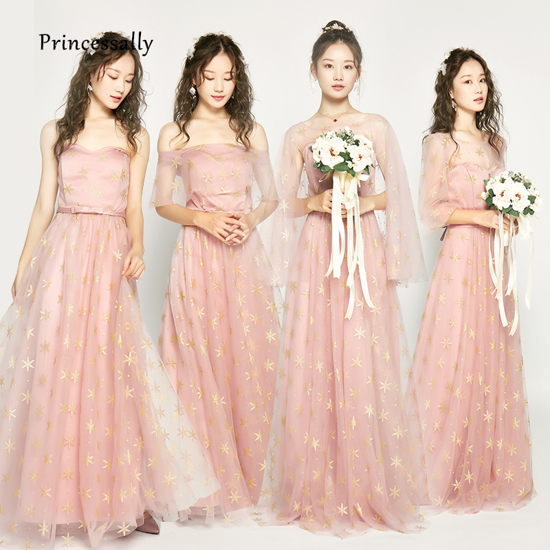 Wholesale New Bridesmaid Dresses Pink Long With Gold Pattern Wedding Party Gown For Girls Robe Demoiselle D'honneur Formal Dress