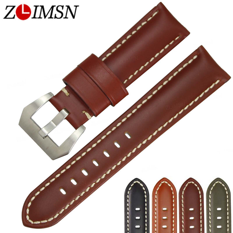 ZLIMSN Men Genuine Leather Watch Band 22mm Red Black Smooth Watchband 24mm 26mm Watches Strap Steel Buckle Suitable for Panerai zlimsn men s watch band for panerai 20 22 24 26mm black brown watchband stainless steel buckle wrist belt genuine leather