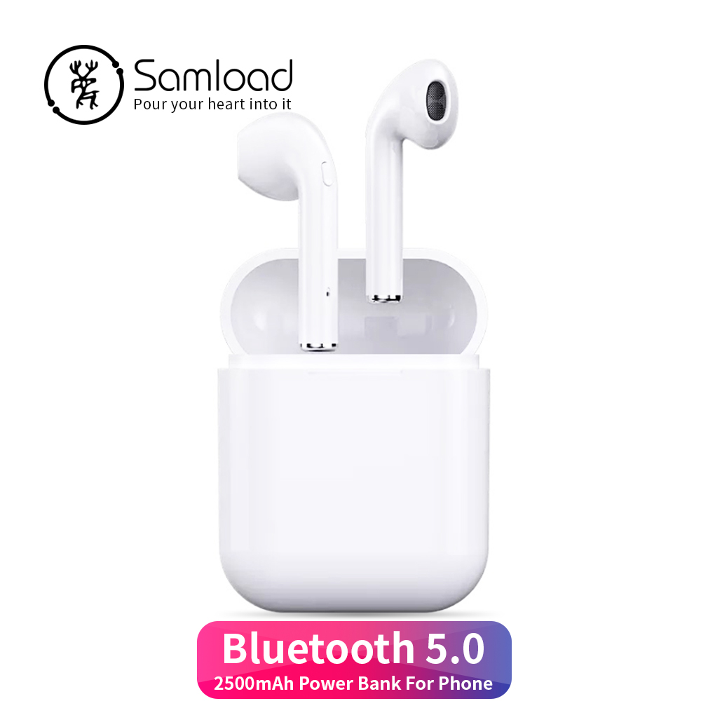 все цены на Samload F10PE Bluetooth 5.0 Wireless Earphone Earbuds Sport Sweat Proof Headphone 2500mah Power Bank Headset for Apple iPhone7 8 онлайн