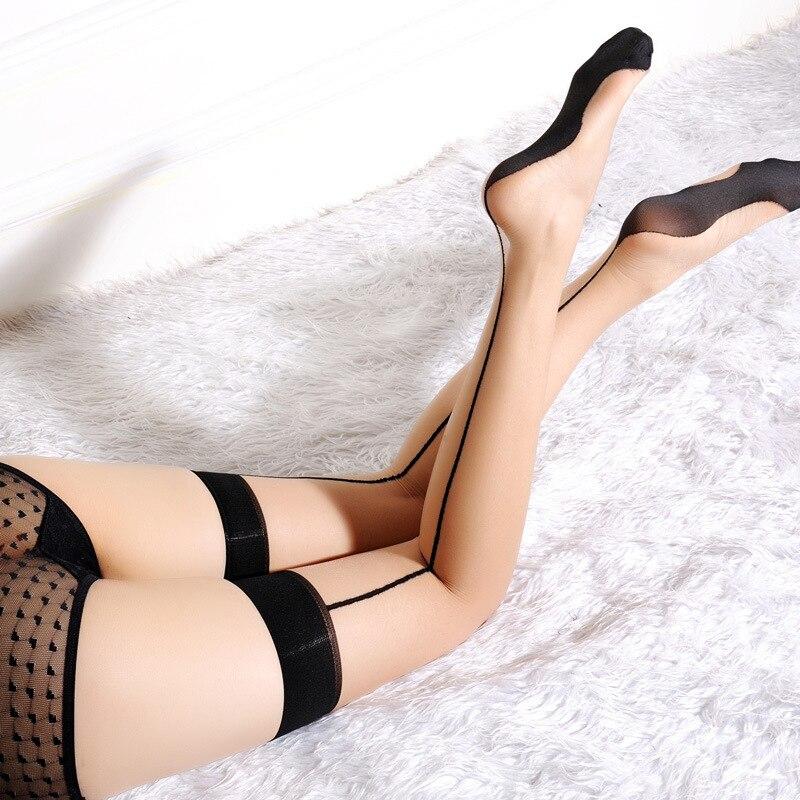 961e330c17e Brand Sheer Thigh High Stocking Women Back Seam Cuban Heel Stockings Charm  Hose Rib Top Line Over Knee Silk Stockings Black Nude