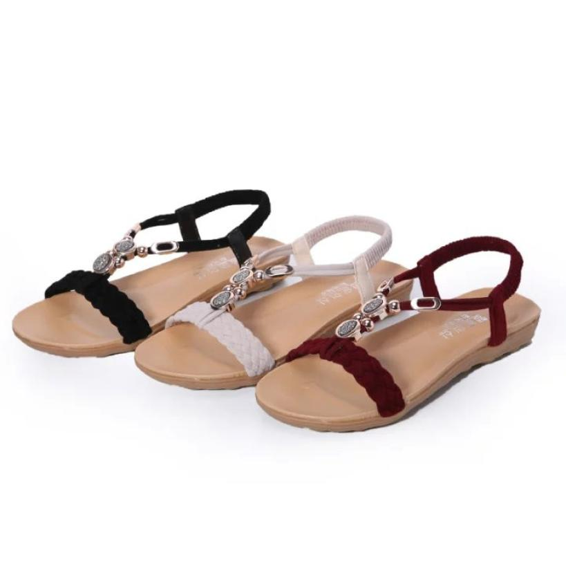 Summer Gladiator Sandals Women Bandage Beaded Flat Sandals for Women Casual Sandals Beach Shoes Chaussure Femme #2607 2016 fashion women summer sandals slippers flat heel sandals beaded lacing gladiator small wedges shoes casual shoes