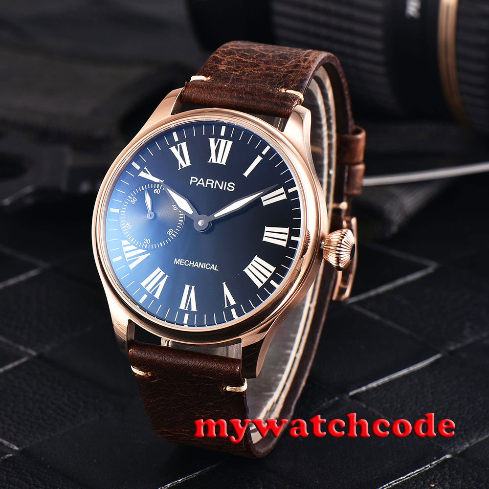 44mm parnis black dial golden plated hand winding 6497 mechanical mens watch 79544mm parnis black dial golden plated hand winding 6497 mechanical mens watch 795