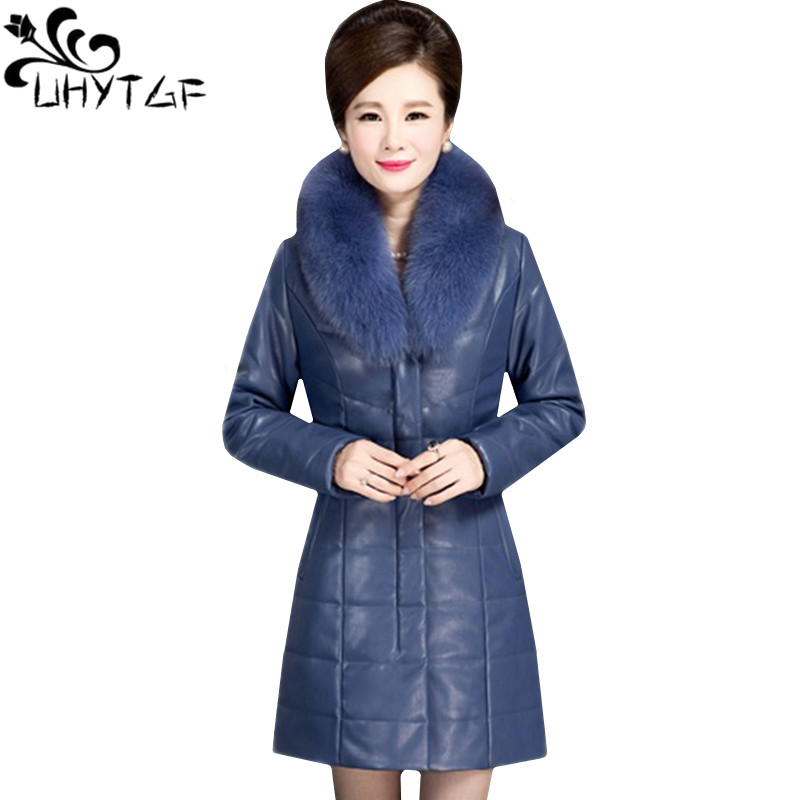 UHYTGF XL-6XL High quality PU   Leather   cotton Winter jacket Female fashion Fur collar Slim   Leather   jacket Women Plus size coat118