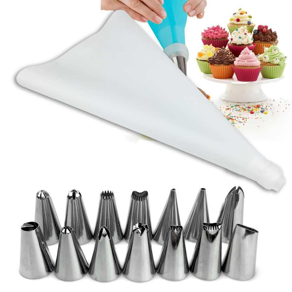 Vogvigo 16 Pcs DIY Baking Kue Deco Alat Silikon Lapisan Es Pipa Krim Tas Kue Stainless Steel Nozzle Converter HANYA BIRU warna