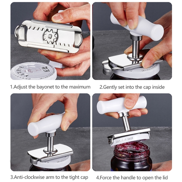 Adjustable Jar Opener Stainless Steel Lids off Jar Opener Bottle Opener Can Opener for 1-4 inches Kitchen Gadget 3