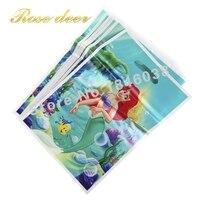 500 sztuk/partia Syrenka Theme Strona Gift Bag Party Dekoracje Plastikowe Cukierki Torba Loot Bag Dla Kids Festival Party Supplies