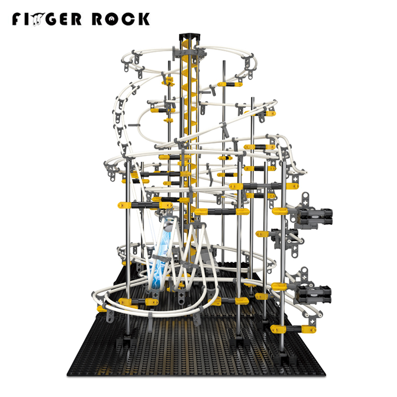 Finger Rock 3D DIY Roller Coaster Model Building Kits Electronic Racing Space Rail Toys Assembly Level 4 Metal Ball Marble Run