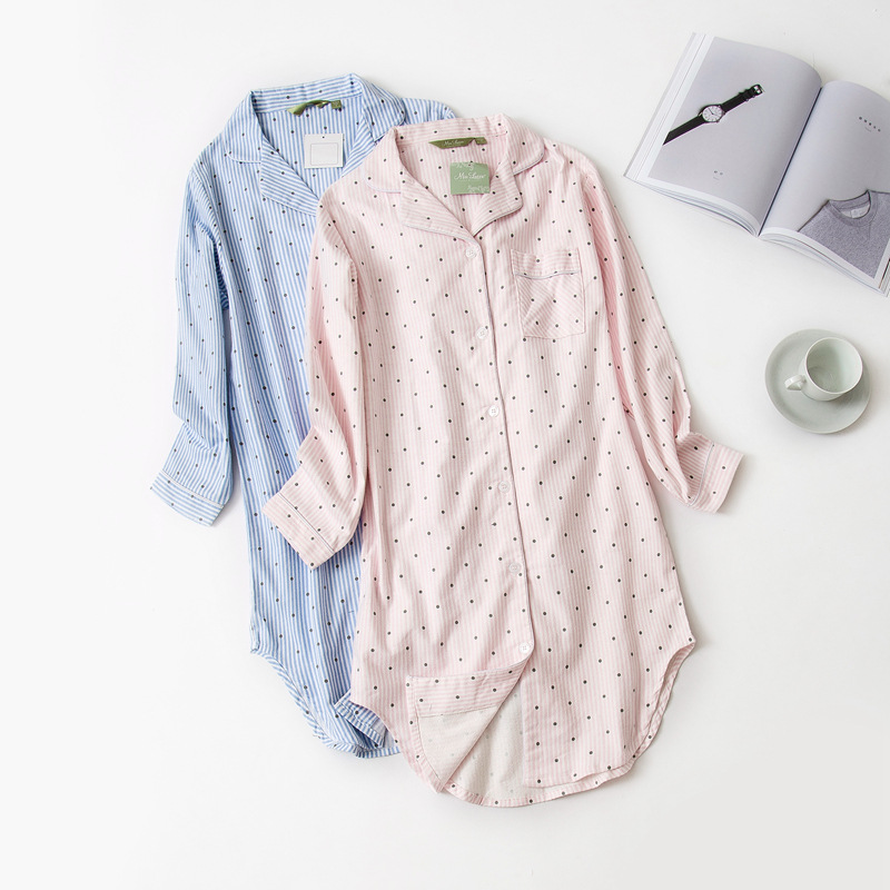 QWEEK Autumn Polka Dot Women Sleepwear 100% Cotton   Nightgown   &   Sleepshirts   Casual Night Dress Soft Home Wear Stripe Sleep Lounge