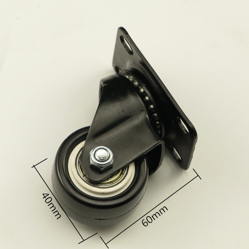 Rubber Caster Wheels Black Office Chair