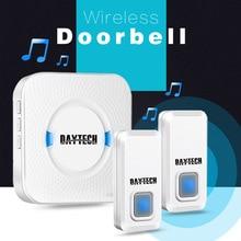 DAYTECH התוספת Wireless דלת פעמון IP44 עמיד למים פעמון עם 55 פעמוני ערכת LED מחוון 1 מקורה מקלט 2 doordoor כפתור