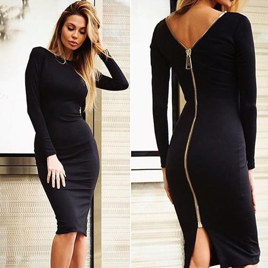 2016 Autumn Winter Womens Dresses Fall Black Tight Fitted Dresses ...