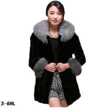 цена на Fur coats for women new faux  coat 2017 hot silver fox fur collar mink coat fashion plus size womans faux fur coat TYJTJY