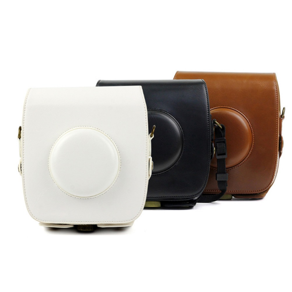 цена на PU Leather Bag Case Vintage Shoulder Strap Pouch Camera Carrying Cover Protection Case for FUJI Instax SQUARE SQ10 Camera