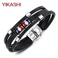 Trendy Multilayer Leather Bracelet Men S British Style Black PU Tassel Chain Link Punk Bracelets Jewelry