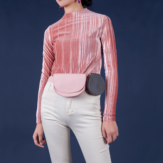 Fanny Pack Women Simple Vintage Contrast Color Waist Bag Casual Removable Adjustable Coin Purse Female Girl Travel Belt Bag 140