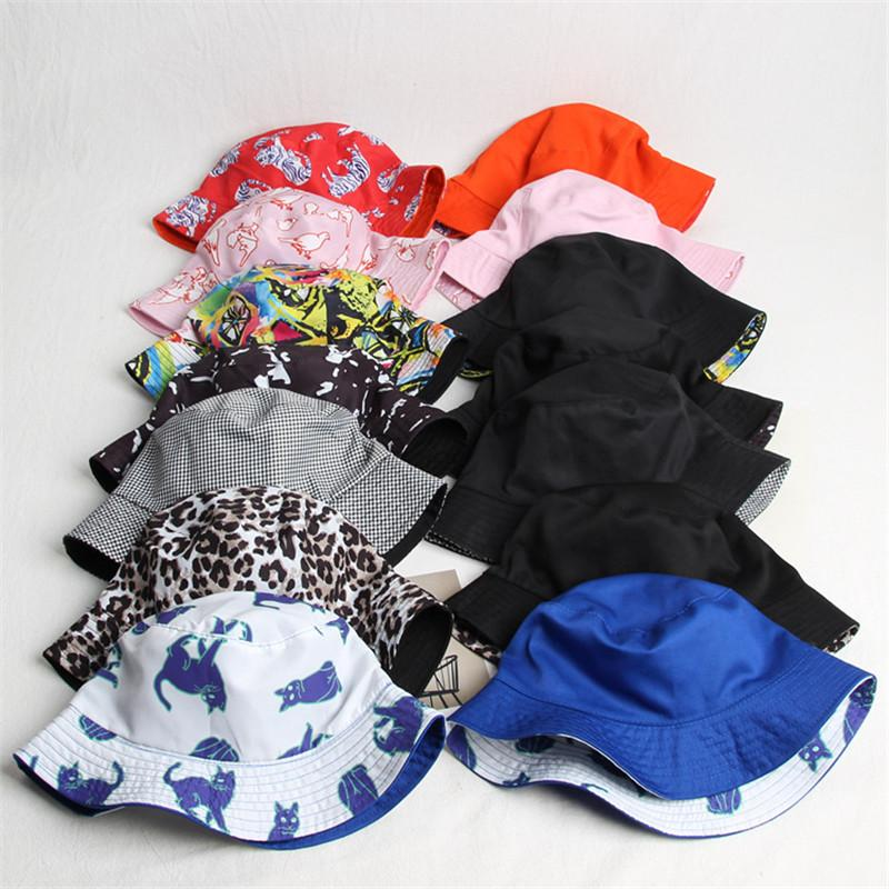 2019 Cotton Print Two Sides Bucket Hat Fisherman Hat Sun Cap Hats For Men And Women 471