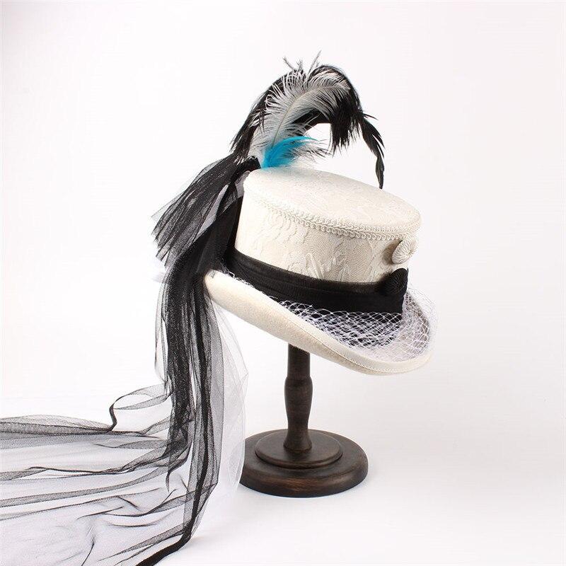 eea81f07e2 Best Price] 4 Size White Wool Women Bride Handwork Fedora Hat Lady ...