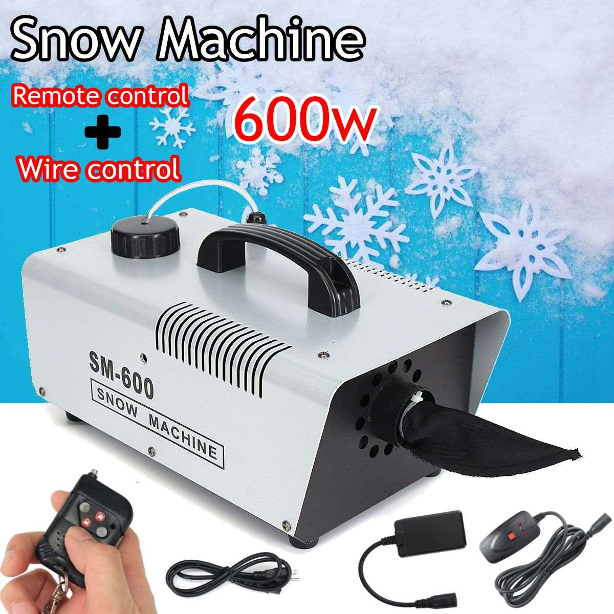110V/220V 600W Mini Flurry Snow Machine Stage Effect + Wired Remote for Holiday Stage Snowmaker Spray Snow Soap Foam Machine oumily reflective multi purpose paracord nylon rope cord reflective grey 30m 140kg page 4