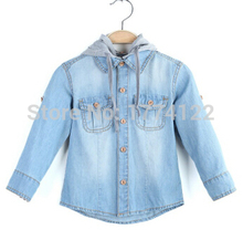 2016 new fashion boy denim shirt boy hooded jacket baby shirts kids baby shirt jacket blouses boy's shirt baby outwear