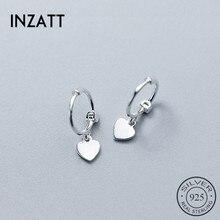 INZATT, настоящее 925 пробы, серебряные, сердце, изысканные серьги-кольца,, хорошее ювелирное изделие для женщин, аксессуары для вечеринки по случаю Дня рождения, подарок