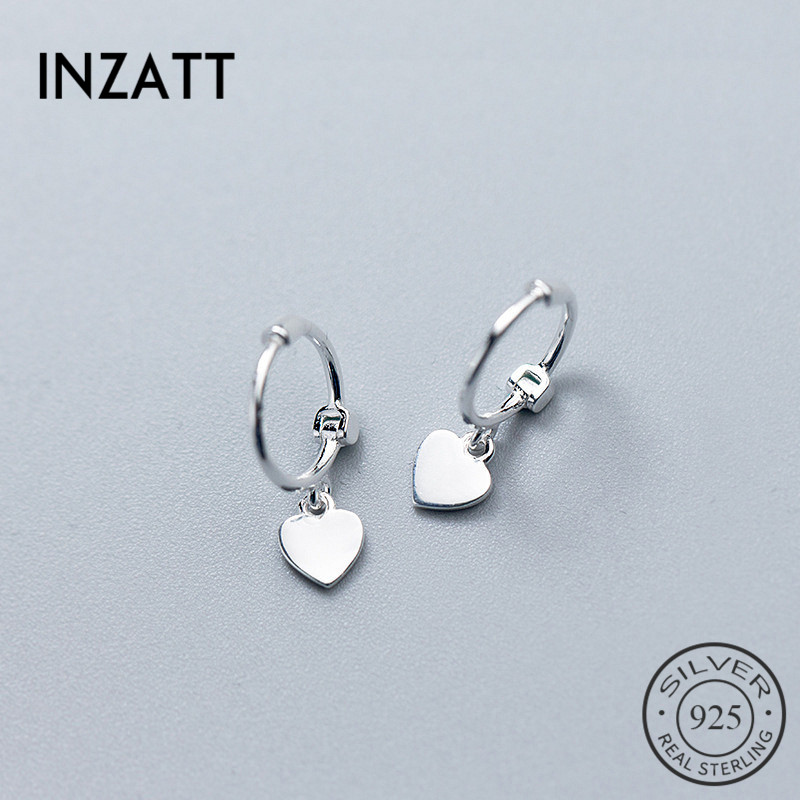 INZATT Hoop-Earrings Fine-Jewelry 925-Sterling-Silver Heart Women for Birthday-Party-Accessories title=