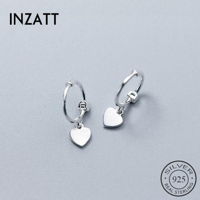 925 Sterling Silver Heart Exquisite Hoop Earrings