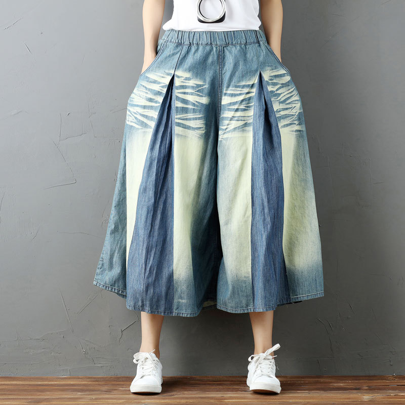 Women Summer Loose Vintage Bleached Scratched Elastic Waist Jeans Ladies Wide Leg Denim Pants Calf Length Denim Trousers Plus  women summer loose zipper jeans 2017 high quality denim trousers female new retro slim type denim pants pockets scratched