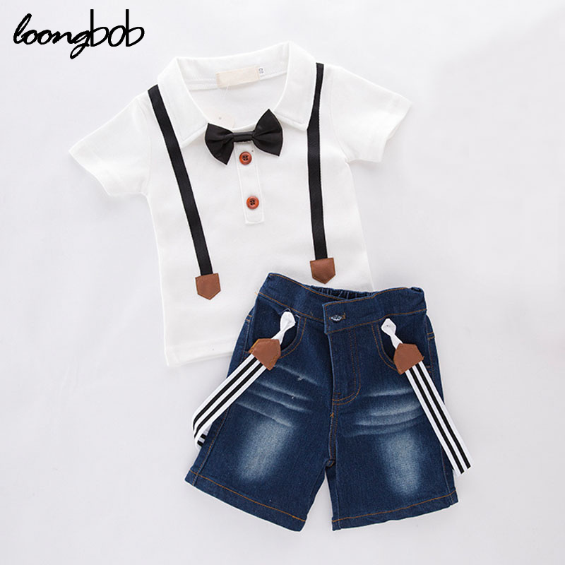 2016 new baby boy clothing set summer style children 2 pcs short sleeve t shirt + denim shorts from babies to teens formal suit 1set retail hot 2015 children clothing set casual boy s beach set t shirt shorts 2 pcs for summer baby set freeshipping