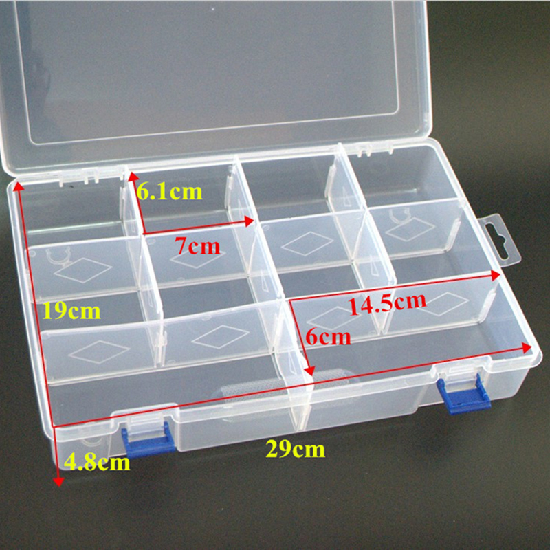 10 Grids L 30cm Plastic Detachable Storage Boxes Bins for Tools&Jewelry&Fishing Gear&Screw Desk Organizer cajas de madera