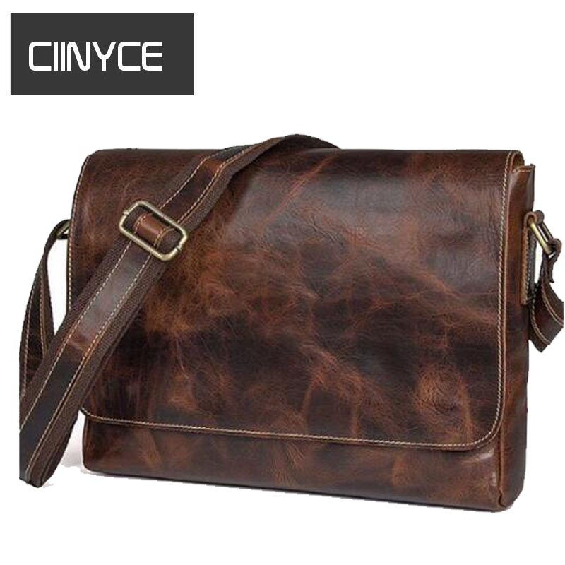 Vintage Genuine Crazy Horse Head Layer Cow Leather Men's Messenger Man Cross body Shoulder Sling 9.5 inch laptops Brown Bag