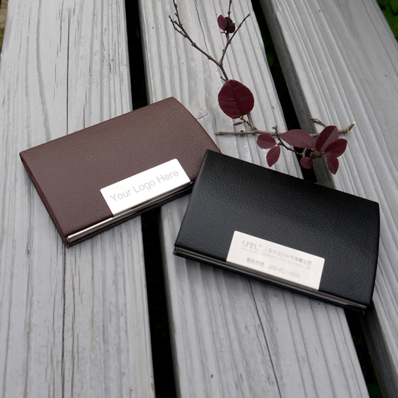 Custom Logo Engraved Black / Brown Business Card Holder PU Leather ...
