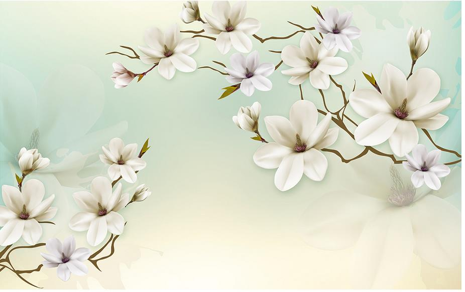 Us 36 0 Custom 3d Wallpaper Simple And Elegant Magnolia Background Wallpaper 3d Flower 3d Wallpaper For Room In Wallpapers From Home Improvement On