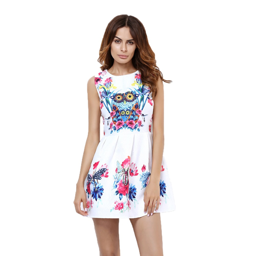 Quality Fashion Dress Print Vintage White Casual Ropa ...
