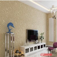 European Style Thick Edged Scallion Leaves Three Dimensional Relief 3D Non Woven Wallpaper Living Room TV
