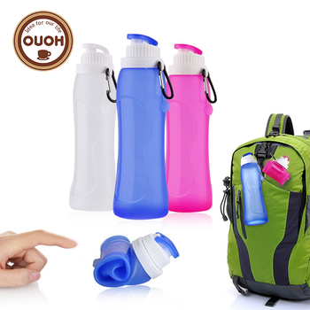 2018 new 500ML Creative Collapsible Foldable Silicone drink Sports Water Bottle Camping Travel my plastic bicycle bottle