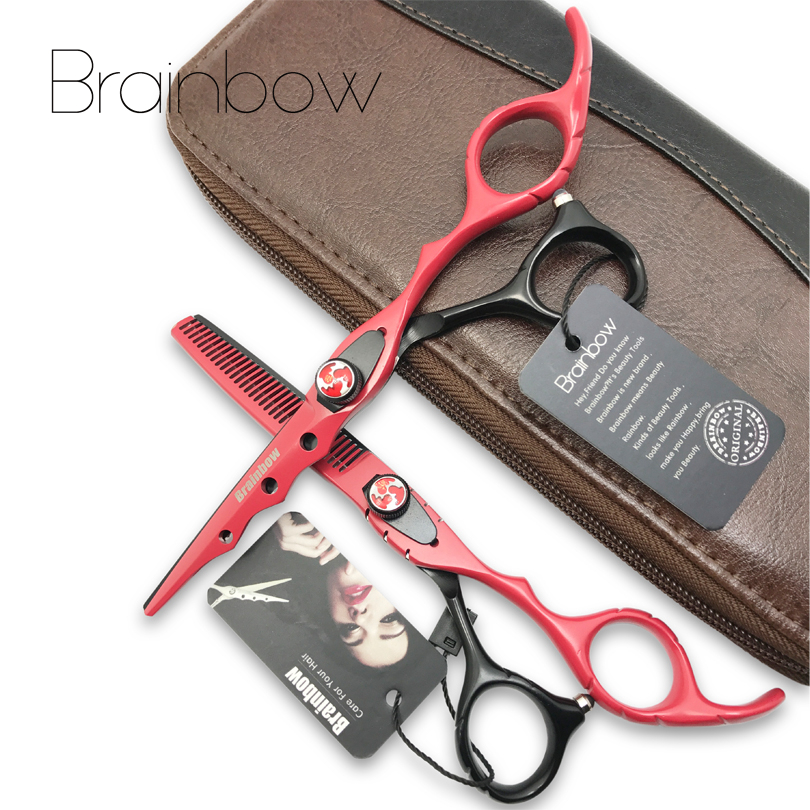 Brainbow 6.0 'Japan Hairdressing Scissors Hair Cutting Thinning Scissors Set Barber Shears Tijeras Pelo High Quality Hair Salon