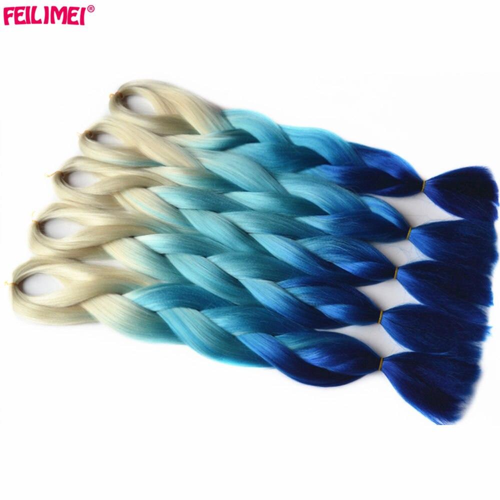 Feilimei ombre блондинка Наращивание волос плетением синтетические jumbo косы 60 см 100 г/шт. цвет: черный, синий фиолетовый зеленый цвета красный, серы...