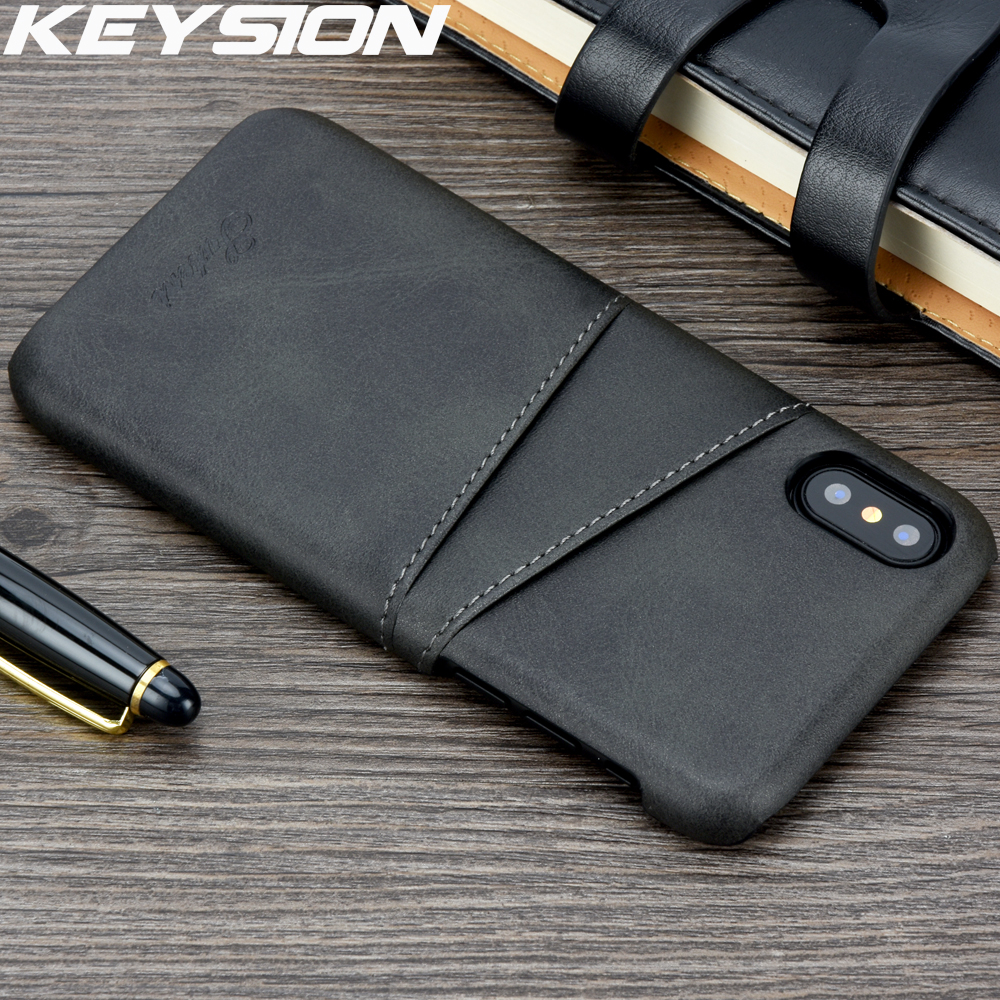 KEYSION Slim Luxury PU Leather For IPhone XR XS MAX Case Back Phone Cover Protective