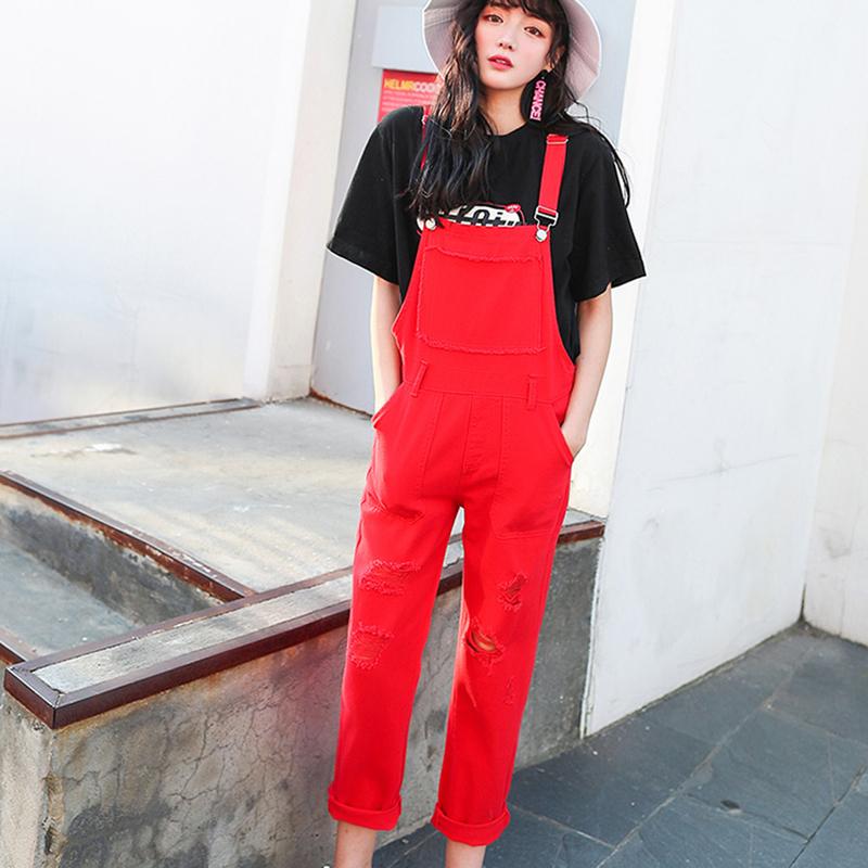 Denim Jumpsuit Women Solid Hole Jeans Jumpsuit Rompers Women Korean Fashion Suspender Monos Largos Mujer Pantalon Largo Overalls 8