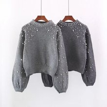 Women sweater European and American style beaded round neck pullover sweaters fashion 2018 women