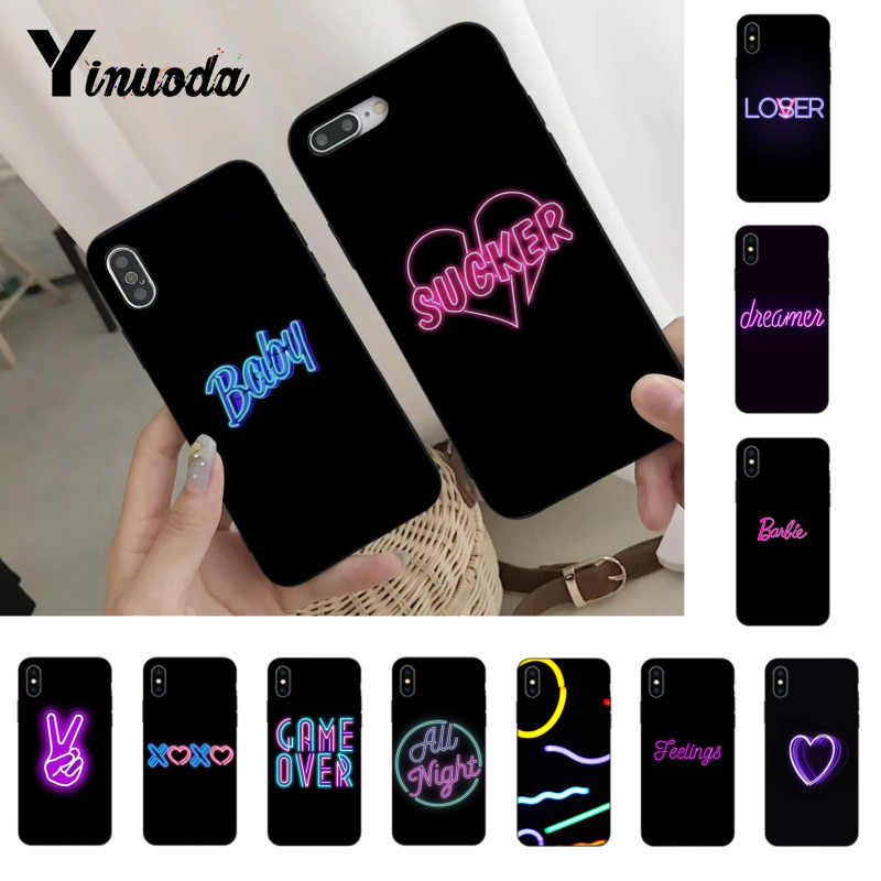 Yinuoda Black background fluorescent small pattern font neon Soft Coque For iphone 5 5s SE 6 6plus 6splus 7 8Plus X XS XR XSMax