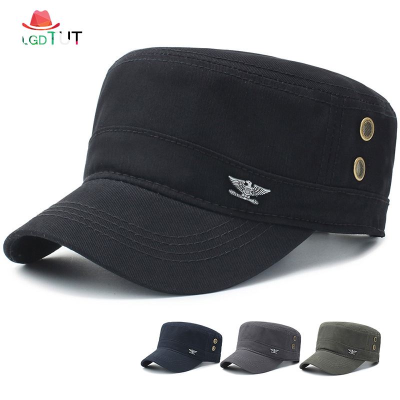 37f4eb34 2018 Cap Men Military Cap Spring Autumn Men Military Hats Men's Flat Top  Cotton Military Army Black Hats Cap Man Hat