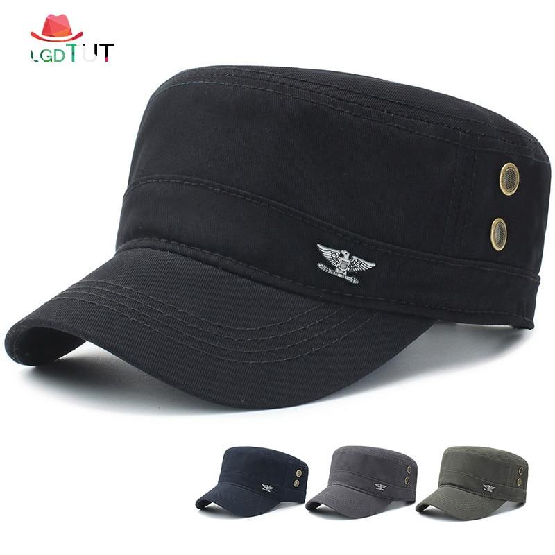 2018 Cap Men Military Cap Spring Autumn Men Military Hats Men's Flat Top Cotton Military Army Black Hats Cap Man Hat
